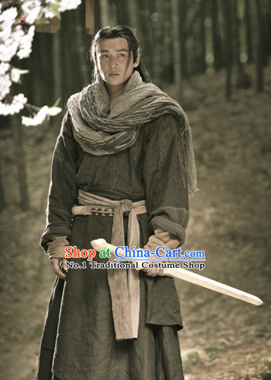 Chinese Ancient Swordman Costumes Complete Set for Men