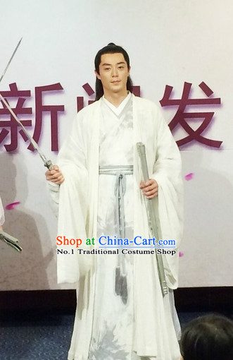 Chinese Ancient Deity White Gown Costumes Complete Set for Men