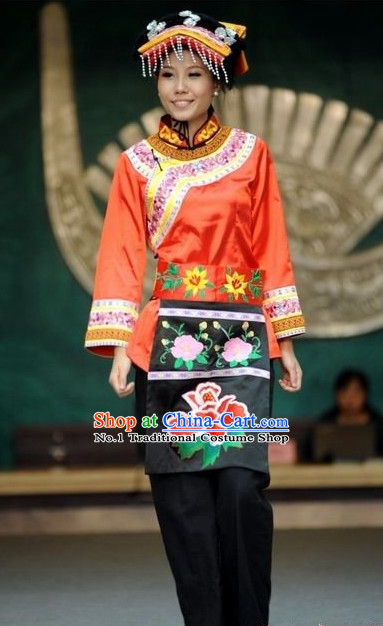Oriental Clothing Chinese Traditional Manchu Ethnic Plus Size Clothes and Hat online for Women