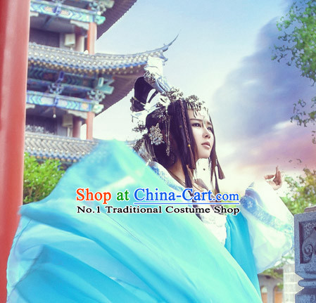 Chinese Ancient Style Guzhuang Black Long Wig Hair Extention Hair Jewelry Complete Set