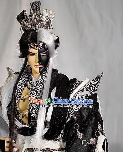 Chinese Halloween Cosplay White and Black Long Wig Hair Extention for Men