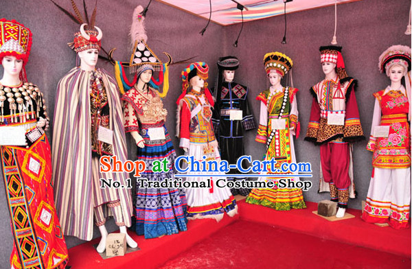 Oriental Clothing Chinese Traditional Ethnic Clothing Costumes and Headwear Eight Sets
