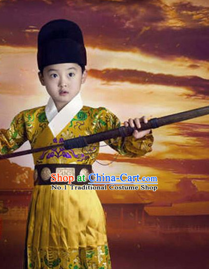 Chinese Ming Dynasty Bodyguard Kids Costumes and Hat Complete Set for Boys