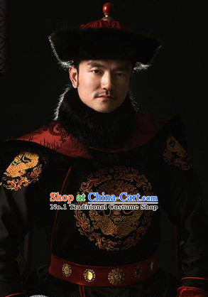 Chinese Qing Dynasty Emperor Dragon Costumes and Hat Complete Set