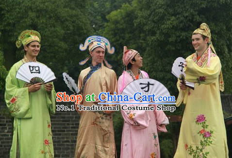 Asian Chinese Traditional Scholar Costume and Hat for Men