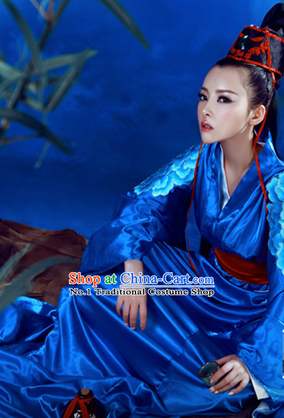 Asian Chinese Traditional Blue Hanfu Clothes for Ladies