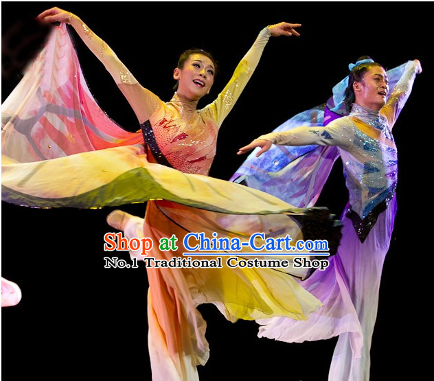 Chinese Stage Performance Butterfly Love Dance Costumes and Headbands 2 Sets