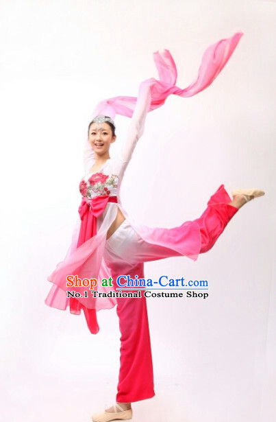 Chinese Traditional Long Sleeve Dancing Costume and Headdresses for Women