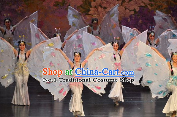Chinese Butterfly Love Liang Zhu Costumes and Headwear Complete Set