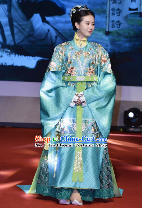 Chinese Traditional Empress Costume and Hair Jewelry Complete Set for Women