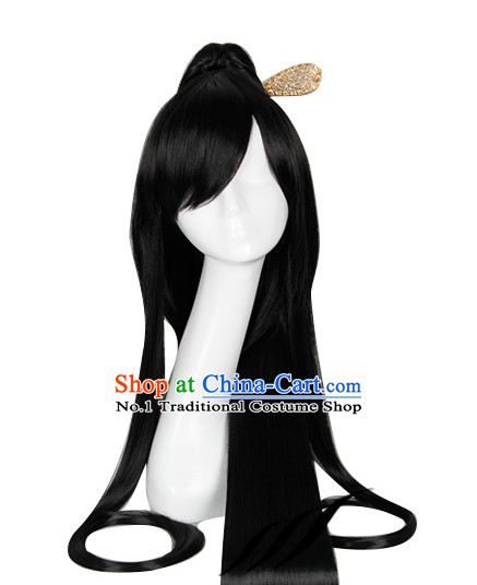 Traditional Asian Chinese Black Long Wig