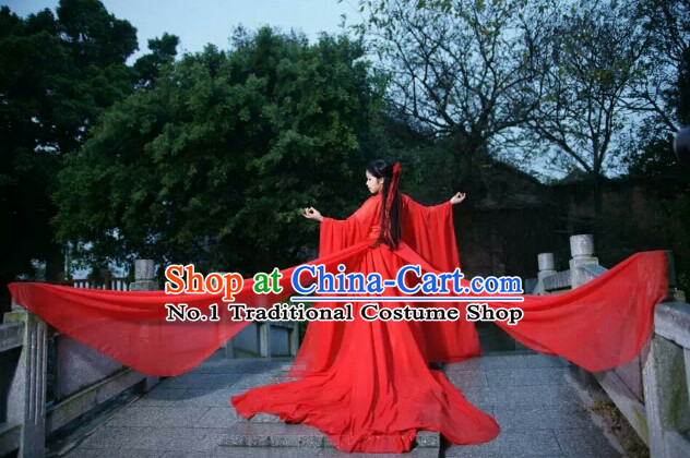 Asia Fashion Ancient China Culture Chinese Red Beauty Halloween Costumes and Headbands