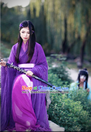 Asia Fashion Ancient China Culture Chinese Purple Kimono Dress