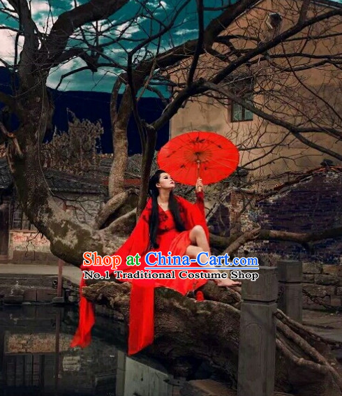 Asia Fashion Ancient China Culture Chinese Red Long Tail Hanfu Costumes