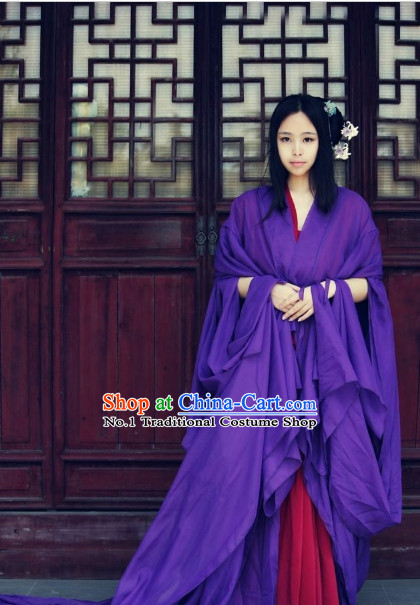 Asia Fashion Ancient China Culture Chinese Purple Long Tail Hanfu Dress