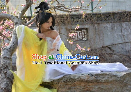 Asia Fashion Ancient China Culture Chinese Kimono Dress and Hair Accessories