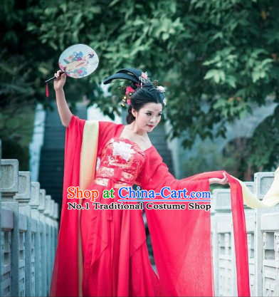 Asia Fashion Ancient China Culture Chinese Red Hanfu Dress and Hair Accessories Complete Set