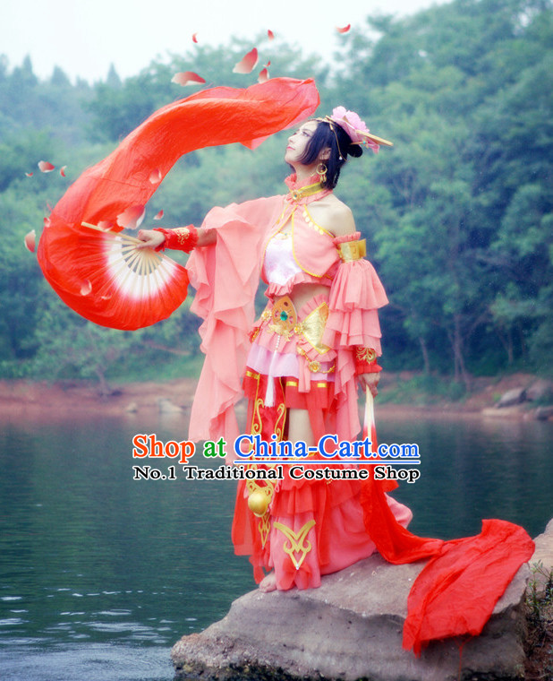 Asia Fashion Chinese Fan Dance Costumes and Hair Accessories Complete Set