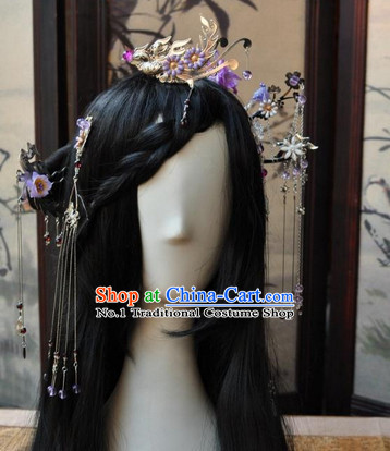 Asian Traditional Chinese Long Wig Cosplay Wigs Ancient Costume Wigs and Hair Accessories