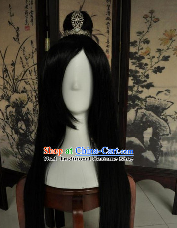 Asian Traditional Chinese Long Wig Cosplay Wigs Ancient Costume Wigs for Men