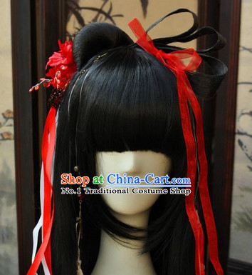 Asian Traditional Chinese Long Wig Ancient Costumes Wigs for Teenagers
