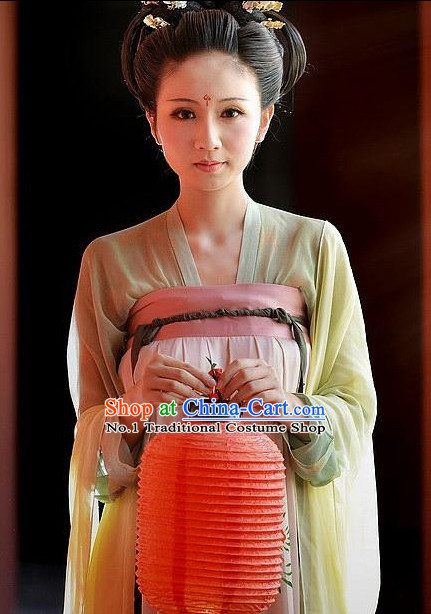 Asian Fashion Chinese Tang Dynasty Royal Lady Costumes and Hair Accessories