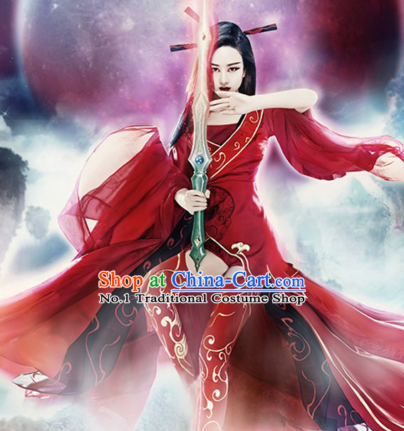 Chinese Red Alluring Woman Costumes Complete Set