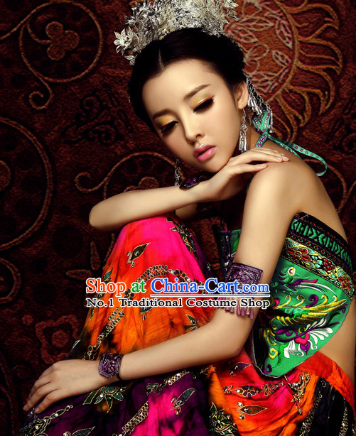 Asian Fashion Chinese Sexy Ethnic Costumes and Hair Accessories Complete Set