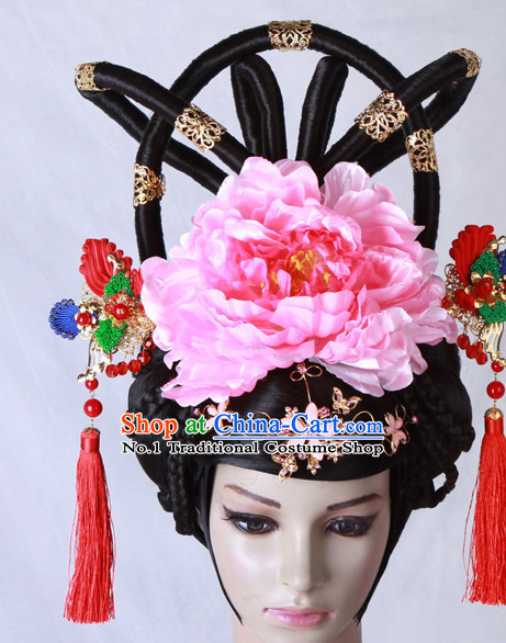Chinese Tang Dynasty Empress Wig and Hair Accessories Complete Set