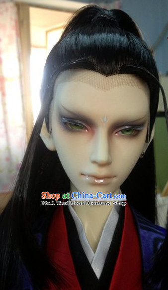 Chinese Traditional Black Long Wig for Men