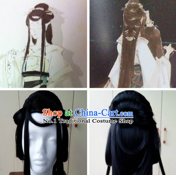 Chinese Ancient Costumes Long Black Wig
