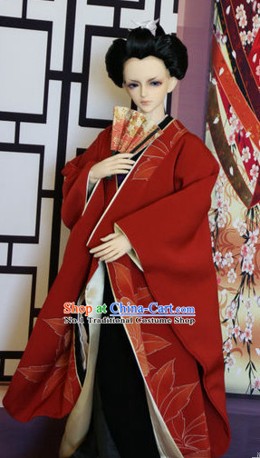 Chinese Traditional Long Gown Kimono Dress Complete Set