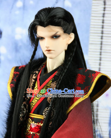 Chinese Traditional Mens Long Black Wig