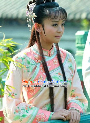 Chinese Qing Dynasty Ladies Robe and Hair Accessories Complete Set