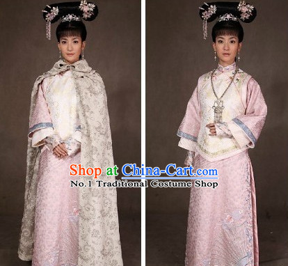 China Fashon Qing Dynasty Manchu Mandarin Princess Clothes and Headwear Complete Set