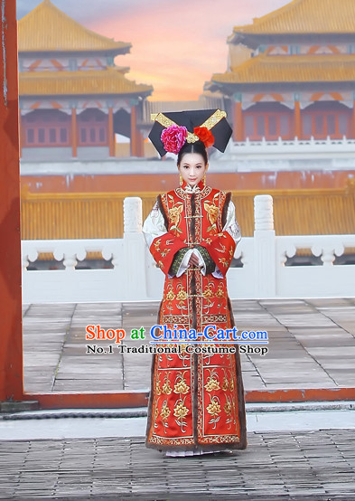 China Fashion Chinese Ancient Costume Wedding Gowns and Hair Jewelry Complete Set