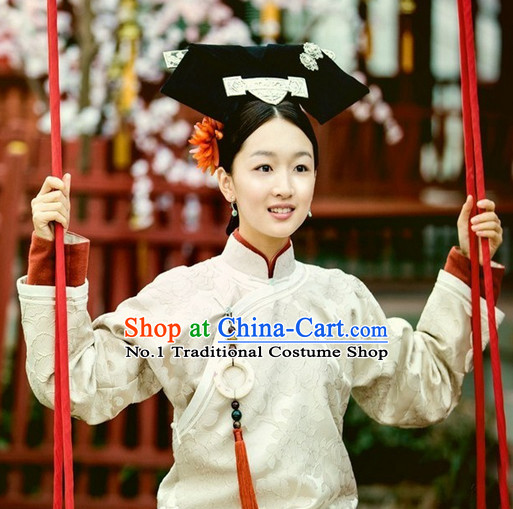 China Fashion Manchu Cheongsam Costumes Hair Accessories Full Set