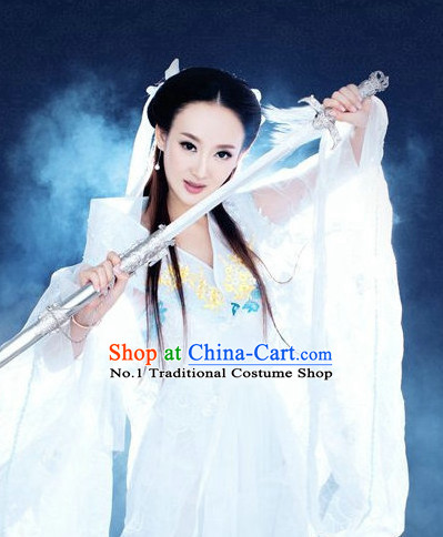 Chinese Female Superhero Costumes and Hair Accessories Complete Set