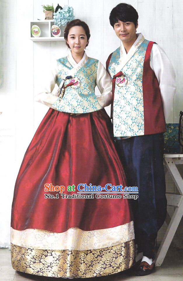 Korean Couple Traditional Dresses Hanbok Clothing Complete Set for Men and Women