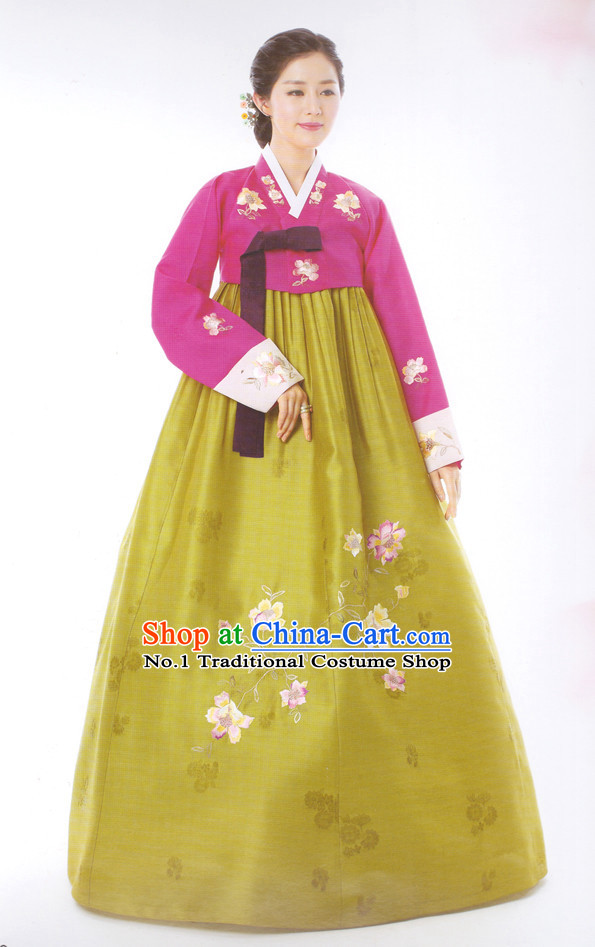 Korean Wife Traditional Dresses Hanbok Clothing Complete Set
