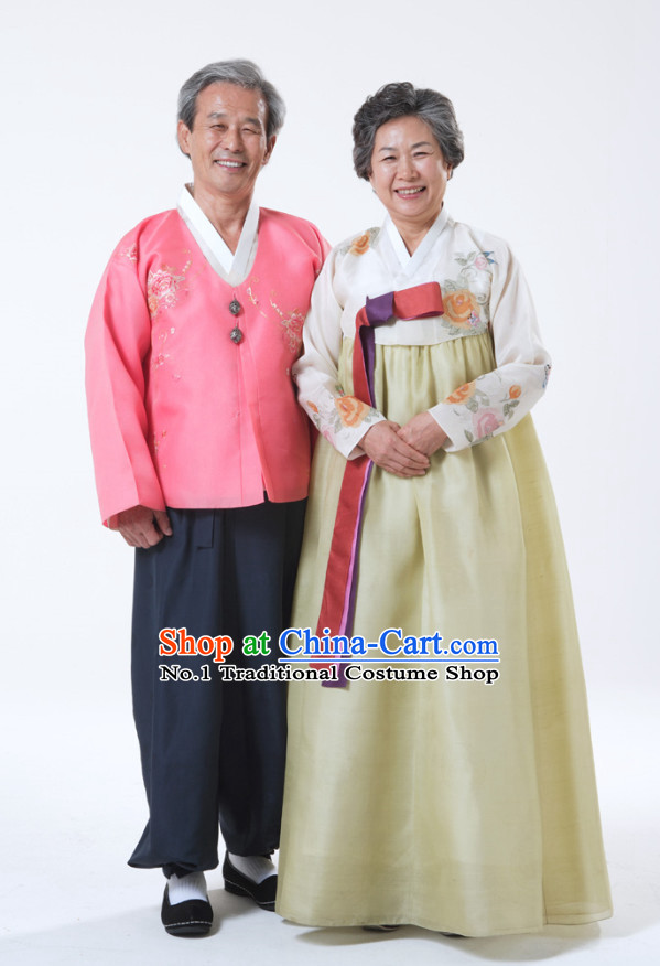 Korean Grandfather and Grandmother National Dress Costumes online Clothes Shopping 2 Sets