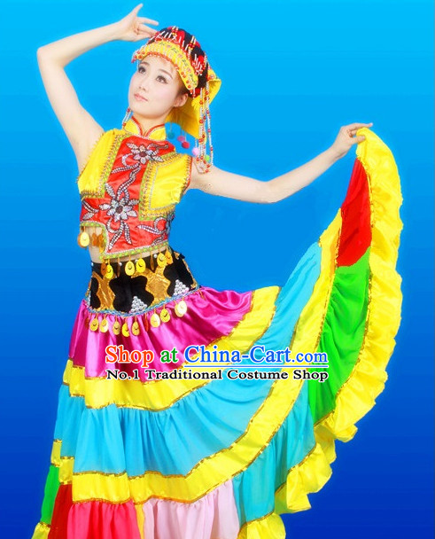 Chinese Yi Dance Costumes Female Ethnic Groups Clothes
