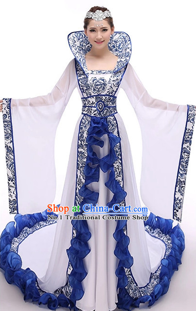Chinese Empress Hanfu Costumes and Hair Accessories Complete Set for Women