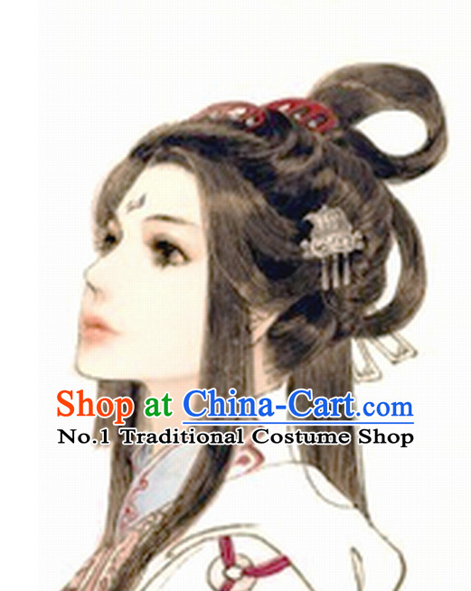 Chinese Ancient Fairy Long Black Wigs