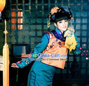 Chinese Professional Stage Performance Drama Noblewoman Costumes and Hair Accessories Full Set