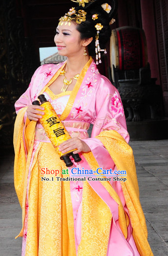 Chinese Traditional Princess Gown and Hair Jewelry Complete Set