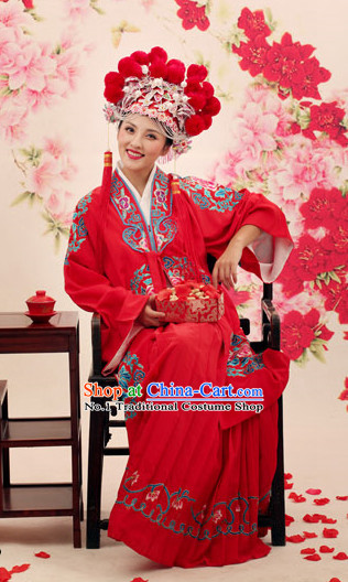 Chinese Traditional Wedding Dress and Hat Complete Set for Brides