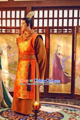 Chinese Traditional National Costumes Emperor Dress and Coronet Complete Set