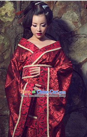 Chinese Traditional National Costumes Wedding Dress and Hair Ornaments Complete Set