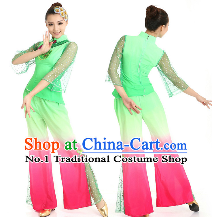 Color Change Chinese Girls Fan Dancewear Dance Stores online and Headpieces for Women